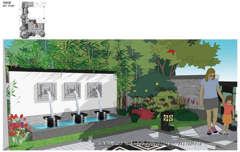 园林庭院平面图 查看 别墅景观-别墅园林设计手绘图